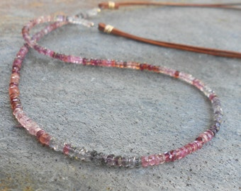 Multi-colored Spinel and Brown Leather Cord Necklace
