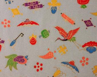 Lucky Good Fortune Vintage Japanese kimono silk chirimen pale blue