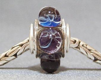 Purple Dot Handmade Lampwork Glass Bead European Charm Bracelet Bead Dutchess