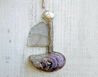 Little Seashell and Beach Glass Fairy Boat Suncatcher Ornament