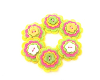 Felt Flowers, Yellow, Lime Green, Pink with Flower Shaped Buttons, Embellishments for Scrapbooking, Card Making, Hair Bows, Trinket Boxes