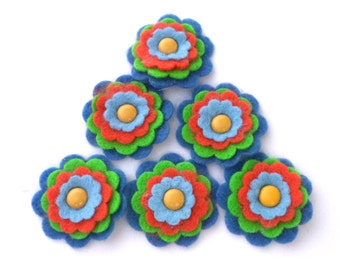 Felt Flowers, Orange, Blue and Lime Green with Yellow Center, Scrapbook Layouts, Card Making Embellishments