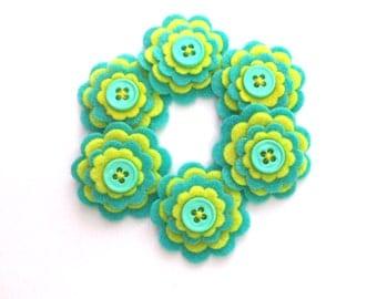 Yellow and Turquoise Felt Flower Embellishments, Scrapbook Layouts, Card Embellishments, Headbands, Hairbows Set of 6