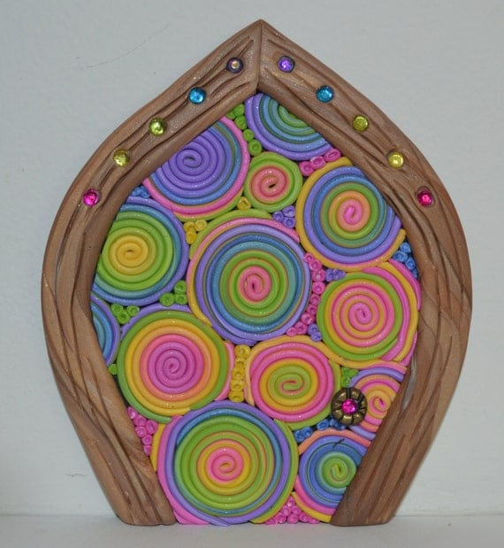 Rainbow swirls miniature fairy door fairy garden by for Rainbow fairy door