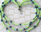 3 Strand Beaded Necklace in Lime Green, Turquoise and Wood