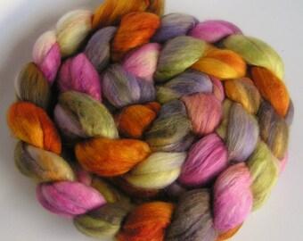 Roving Merino Silk Top Fiber Velvet MY FLOWER GARDEN Phatfiber 50 Merino 50 Silk Luxurious Handspinning Spin Felt Craft Roving 4 ounces