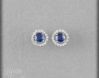 Two Sets of Blue and White Sapphire Earrings With Diamond Halo - Payment Plan Link for Wendy Dyal - 3rd Payment