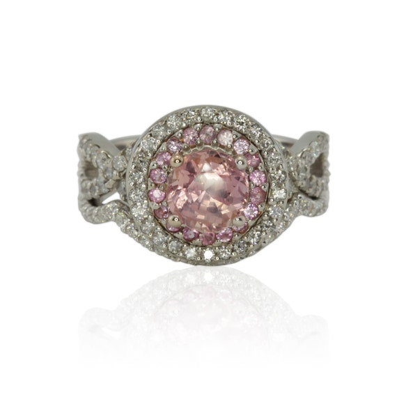 Pink Sapphire Ring, Light Pink Sapphire Engagement Ring and Wedding Ring Set with Diamonds - LS1714
