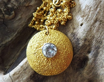 Contemporary-Textured 18k Gold Vermeil-Bezel CZ Studded Pendant-14k Gold Fill Necklace