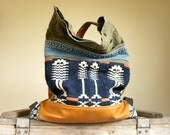 SALE///Backpack Traveler In Early American Textile, Military Canvas, Studded Vintage Denim, and Multi Colored Leather