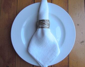 Linen Napkins, Soft White, Table Linens, Set of 4