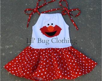 Elmo Dress, Sesame Street Elmo Dress, Elmo Jumper Dress, Elmo Birthday Girl Tiered Dress, Custom Boutique Girl, Toddler Dress, Red Polka Dot