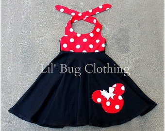 Minnie Mouse Dress, Red White Polka Dot Minnie Mouse Dress, Minnie Mouse Birthday Dress, Custom Boutique Minnie Dress,
