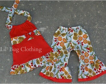 Custom Boutique Clothing Summer Cherry Blossoms Capris and Halter Top Outfit