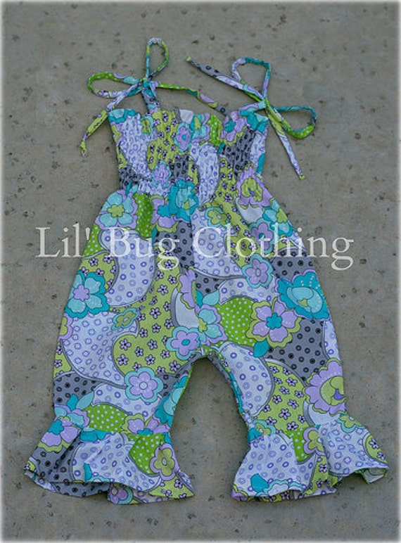Cutsom Boutque Clothing Lavender and Lime Floral Smocked Romper/Jumper
