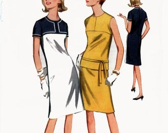 1960s ColorBlock Shift Dress or Overblouse an Skirt Butterick 3891 Vintage 60s Sewing Pattern Size 14 Bust 34 UNCUT