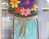 Front door decor, Spring door hanger, Mason jar, mason jar door hanger,j front door decor,