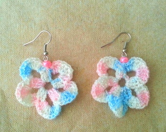 Crocheted Flower Earrings Multicolored pink, white and blue