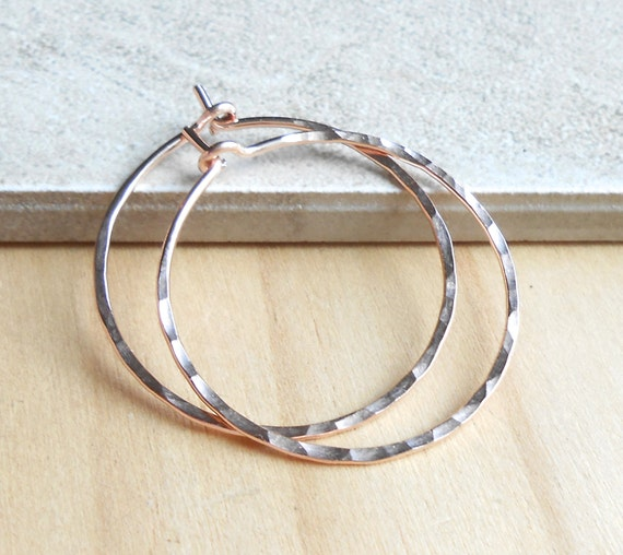 Medium Hammered Rose Gold Hoop Earrings, 30mm Rose Gold Filled Wire Hoops