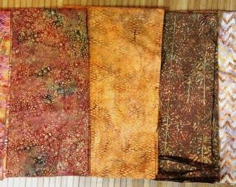 Batik Fabric FIVE One yard Pieces Bundle Robert Kaufman
