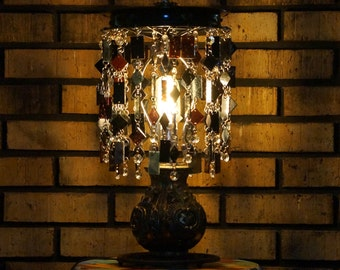 Table Lamp, Glass & Metal Lamp, Decorative Lamp, Accent Light (One of a Kind) Boho - Goth - Emo - Table Lamp - Petite lampe Noir