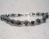 Chaos Flowers, chaotic seraphinite and seed bead bracelet