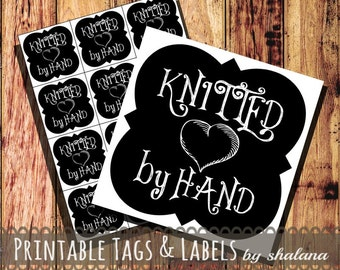 Printable PDF Chalkboard Style Hang Tags or Stickers - Knitted by Hand