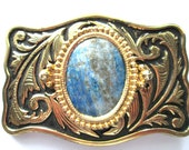 Belt Buckle Lapis Lazuli Navy Stone Gold Tone With Black Trim Etched Western Style