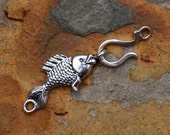 Sterling Silver Fish and Hook Clasp 38x7mm