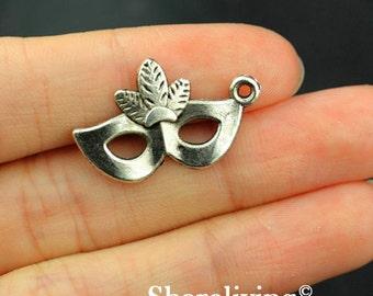 12pcs Mask Charms, Antique Silver Mask Pendant  - MAS112