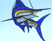 Stained Glass Blue Marlin (Makaira nigricans) Suncatcher.