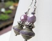 Lavender Purple Czech Glass Bead Sterling Silver Earrings