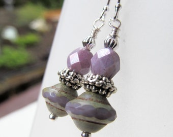 Lavender Purple Czech Glass Bead Sterling Silver Earrings