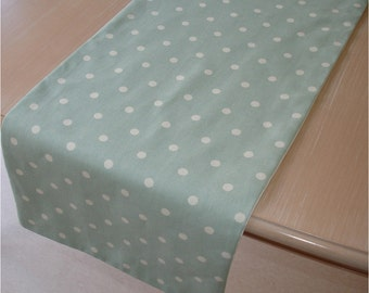 "10ft Table Runner 120"" Duck Egg Blue Green White Polka Dots 3M Long Baby Shower Wedding Linens 300cm 3 Metre Metres"