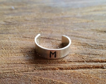 Thin Sterling Silver Toe Ring with initial