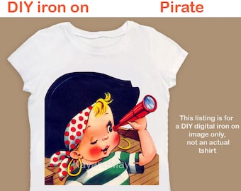 Pirate iron on printable image for fabric crafts tshirts boy pirate ironon birthday shirt toddler tee clothing - PDF Instant Download #14
