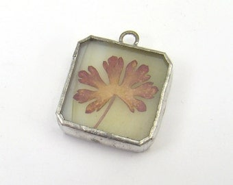 Pressed flower pendant, square stained glass green background pink flowers 24mm
