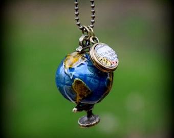 Custom Globe Map Charm Necklace - You Pick Location - Personalized Brass Map Jewelry - Travel Jewelry - Wanderlust