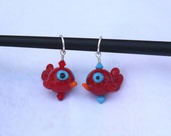 Love birds - stitch markers - knitting - set of 2 - lampwork