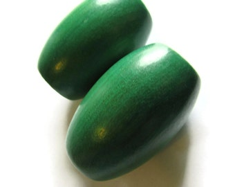 Ridiculously Huge Green Beads Barrel Beads 53mm Wooden Beads Wood Beads Vintage Beads Macrame Beads Chunky Beads
