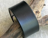 Plain Black Leather Cuff for Men or Women - Wide Snap-on Cuff - Top Quality Vegetable-Tanned Leather
