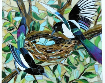 Mosaic Magpie Print - Two For Joy - Limited Edition Giclee Print -  Mosaic Art  Black and White Bird Print  Glass Mosaic  Stained Glass Bird