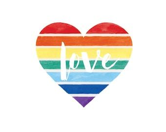 Rainbow Heart Love Art Print - Love Wins Art - Love Is Love Art  - Marriage Equality Art - Pride - Wedding Gift - Customizable Art Print