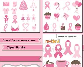 Clipart bundle breast cancer awareness, pink ribbon digital clip art, digital images