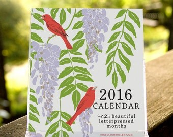 25% off! Birds & Gardens Letterpressed 2016 Desktop Calendar