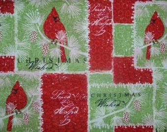 Christmas Cardinal Pine Tree Fabric 2 1/3 yards