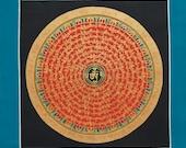 Mantra Mandala Thangka Painting from Nepal-Tibetan Art-Buddhist Art-Nepalese Art-Meditation