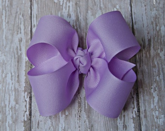 """Lavender Hairbow Lavender Large Hair Bow 4"""" Alligator Clip Girls Hairbow Lavender Hair Bow Lavender Large Bow 4 Inch Hair Bow"""