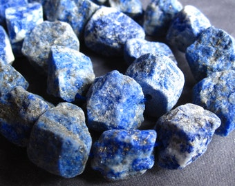 4 beads of Lapis Lazuli Rough Stone center drilled beads - 10mm X 12mm - unpolished natural lapis