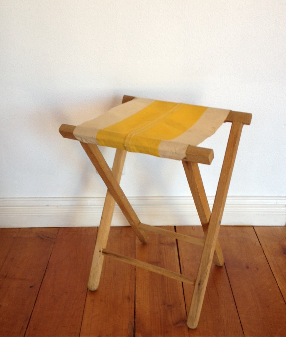 Vintage Folding Camp Stool Wood Stool Yellow Striped